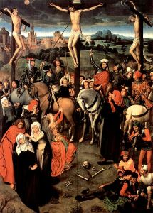 Hans Memling,  central panel of Polyptych of Calvary; also known as Altar of the Passion (Lubeck, St. Anne's Museum)