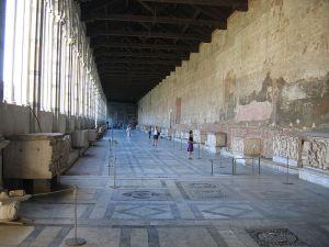 Frescoes and sarcophagi at the Campo Santo, Pisa