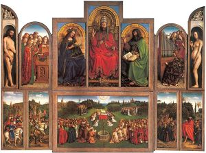 Jan van Eyck, The Adoration of the Mystic Lamb; also known as The Ghent Altarpiece (St. Bavo's Cathedral, Ghent)